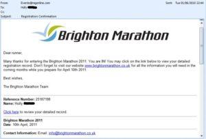 Brighton Marathon confirmatione email