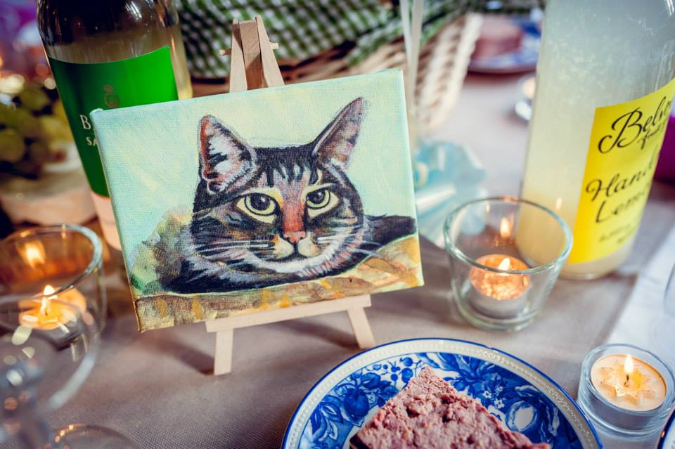 Canvas painting of cat wedding table names