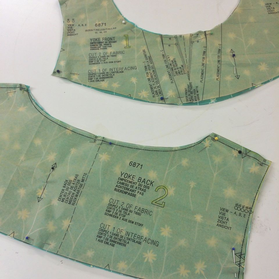 Yoke pattern cut out dressmaking