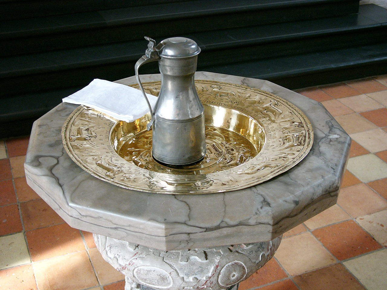 Christening font water