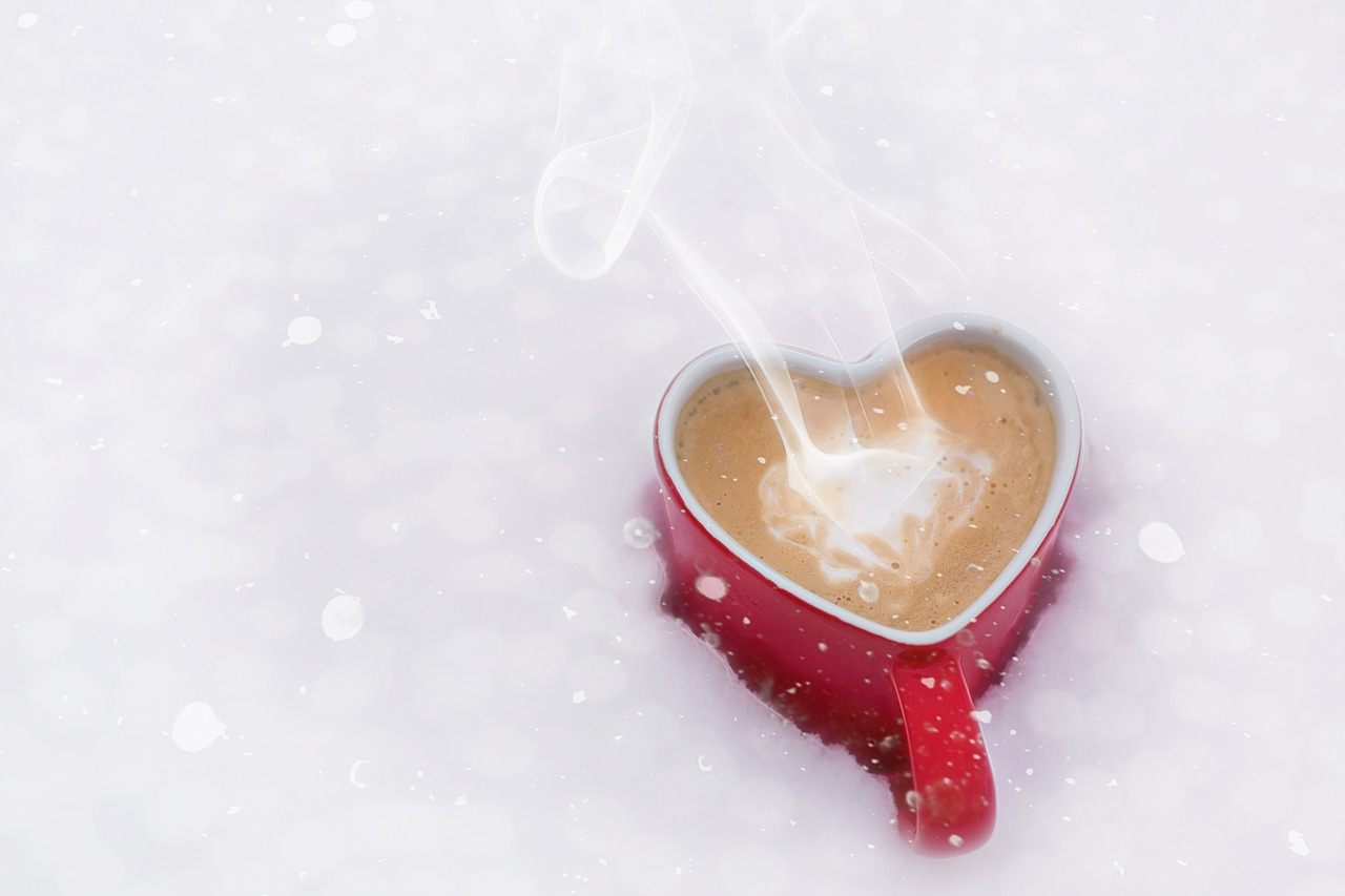 Hot drink in the cold snow