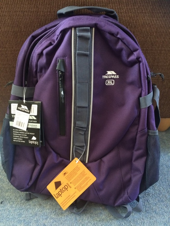 Trespass backpack review - purple 30 litre