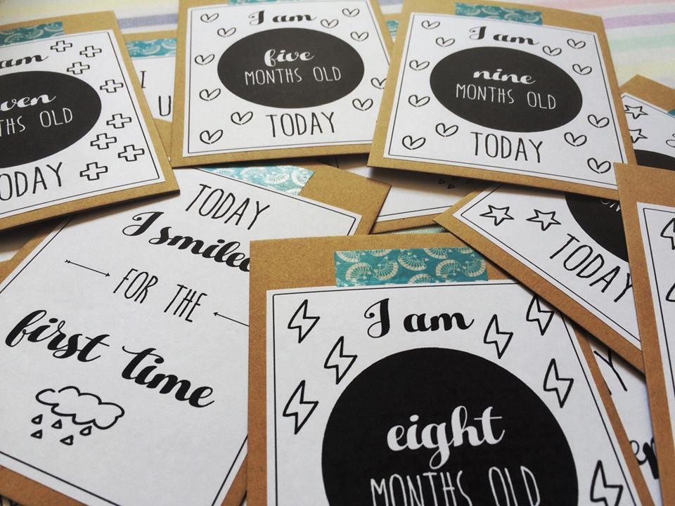 Baby Milestone card - handmade