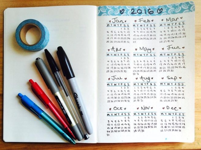 Bullet Journal year calendar