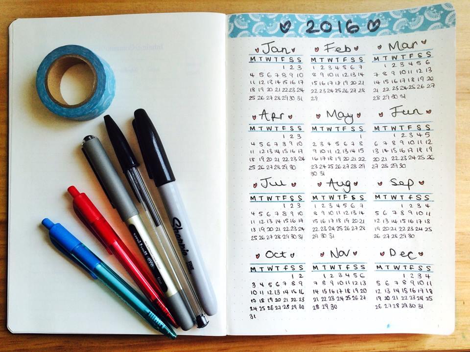 Bullet Journal year calendar
