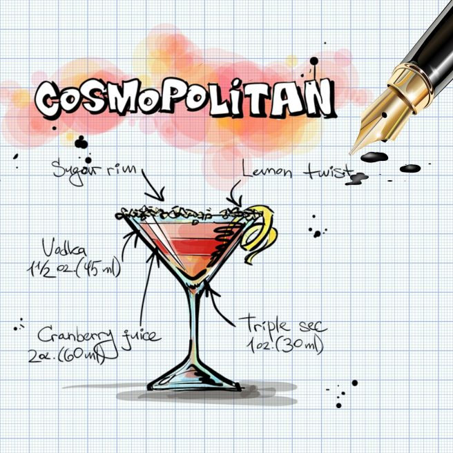 Cosmopolitan cocktail graphic