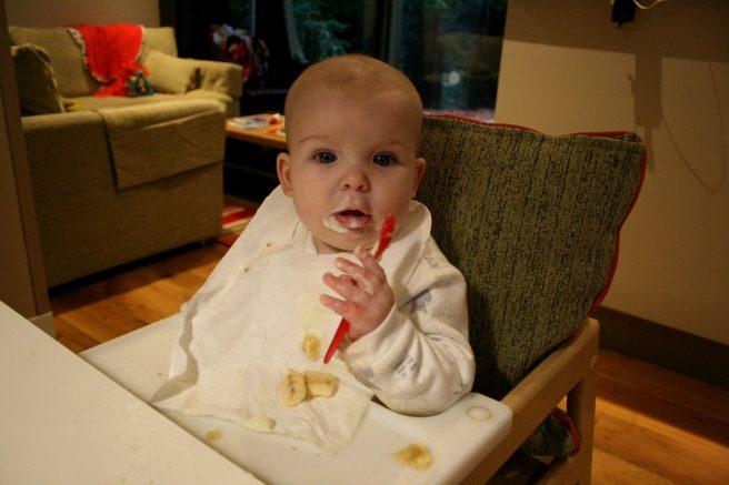 Baby feeding porridge Center Parcs