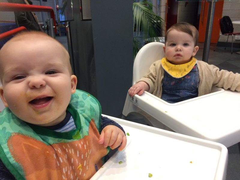 babies in Ikea highchairs