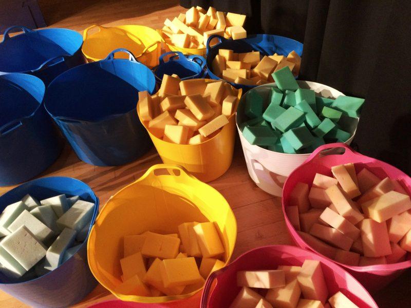 sponges in buckets