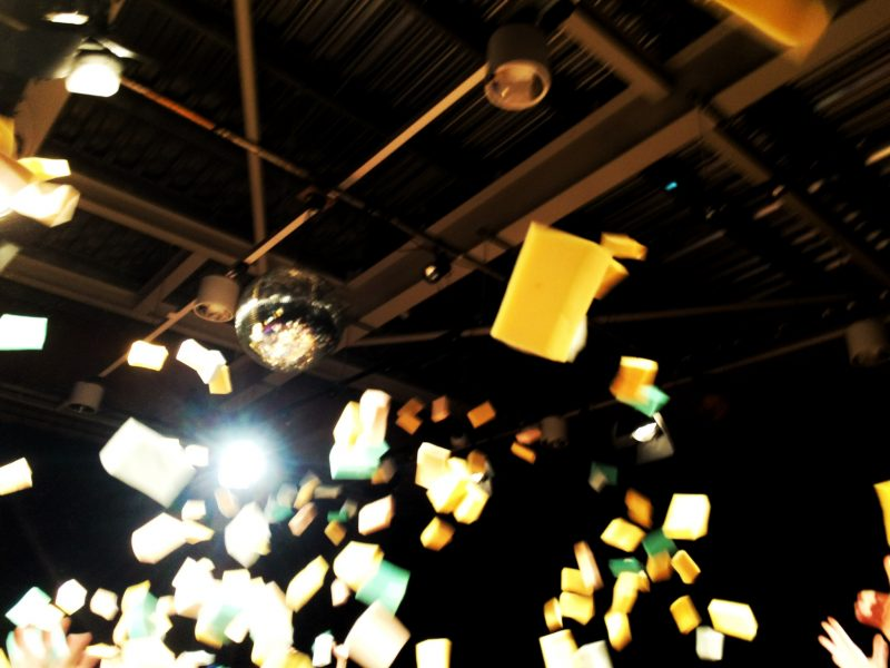 sponges flying in the air theatre finale