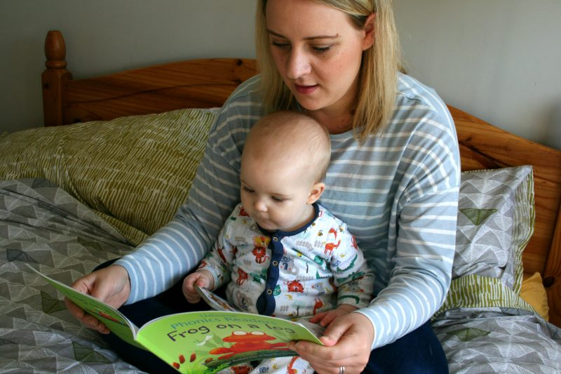 Reading with baby for bedtime story