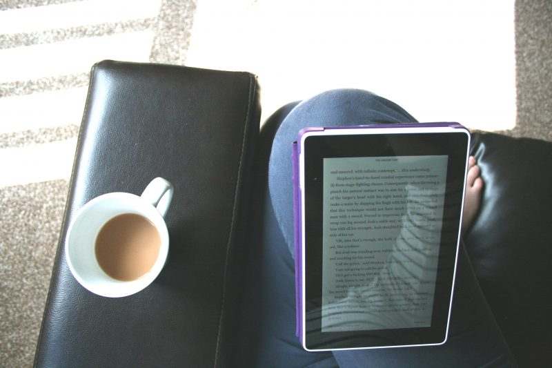 Reading My Kindle With a Cup of Tea