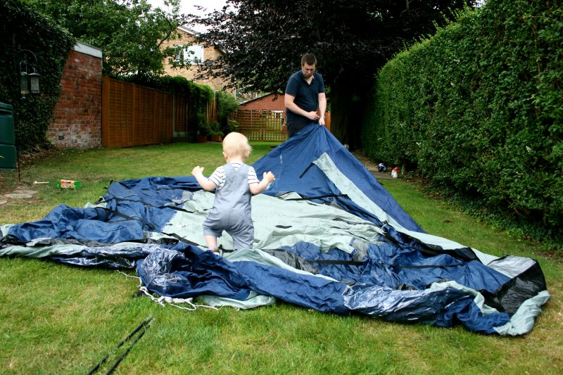 Toddler and putting a Tent Up