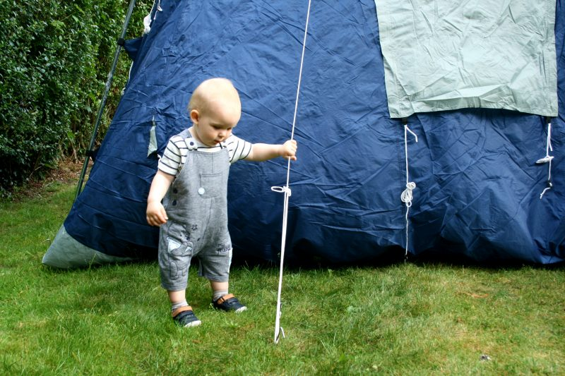 Toddler Performing a Tent Inspection