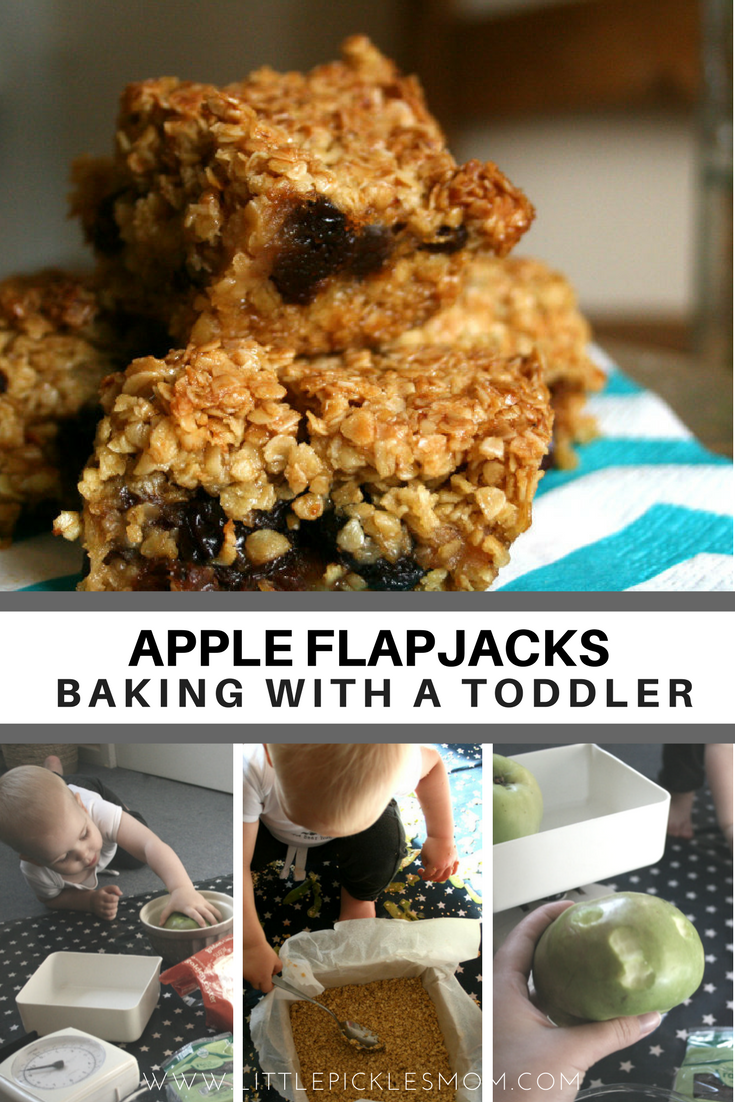 Baking Apple Flapjacks with a Toddler using a Messy Me Designs Splashmat - Little Pickle's Mom: Culture, Crafts and Countryside - Parenting in the West Midlands