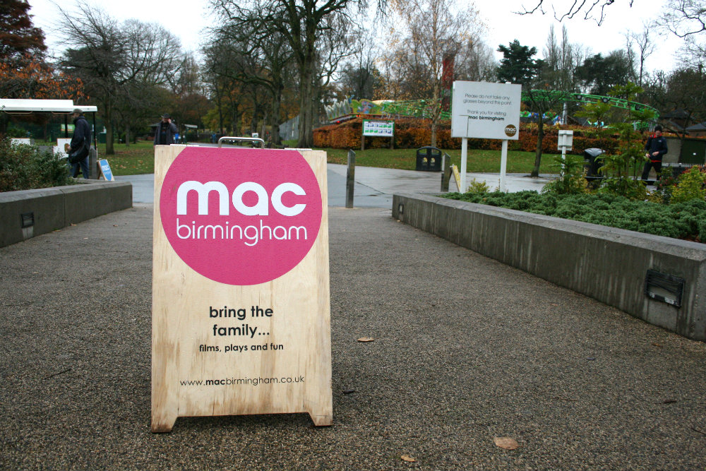 Outside of Midlands Art Centre, Birmingham. A welcome sign by the park