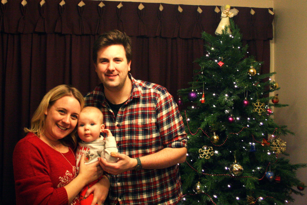Christmas Family Portrait in front of Christmas Tree 2016