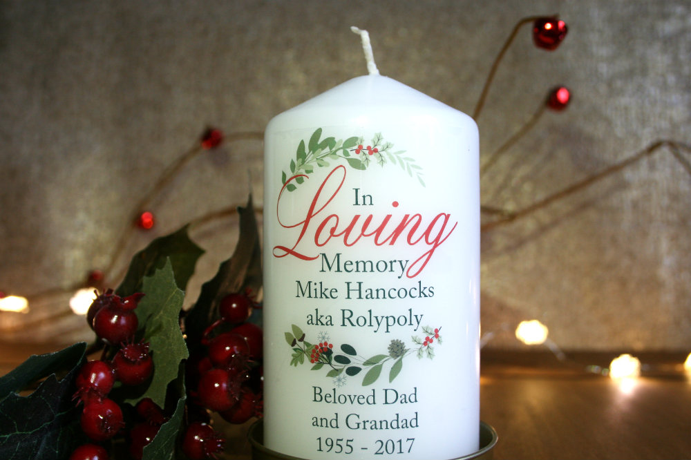 In loving memory candle for Christmas