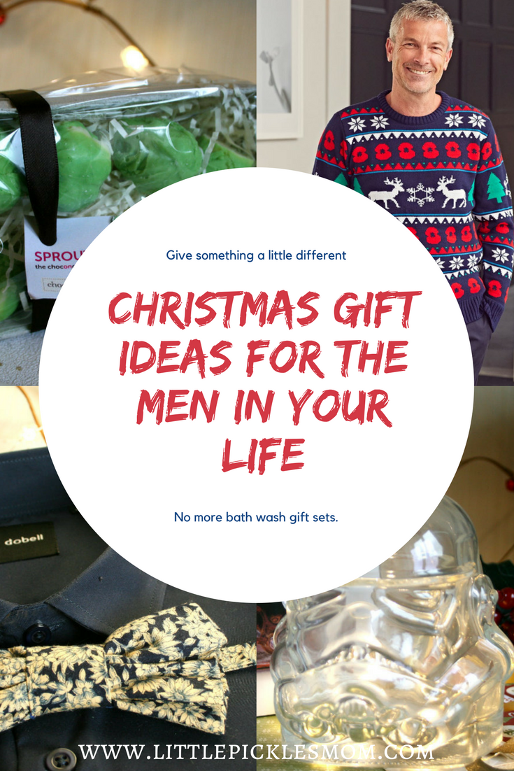 Christmas Gift ideas for Men - something a little unique and different including a Poppy Christmas jumper, chocolate sprouts, Star Wars Stormtrooper decanter and Axe Throwing!
