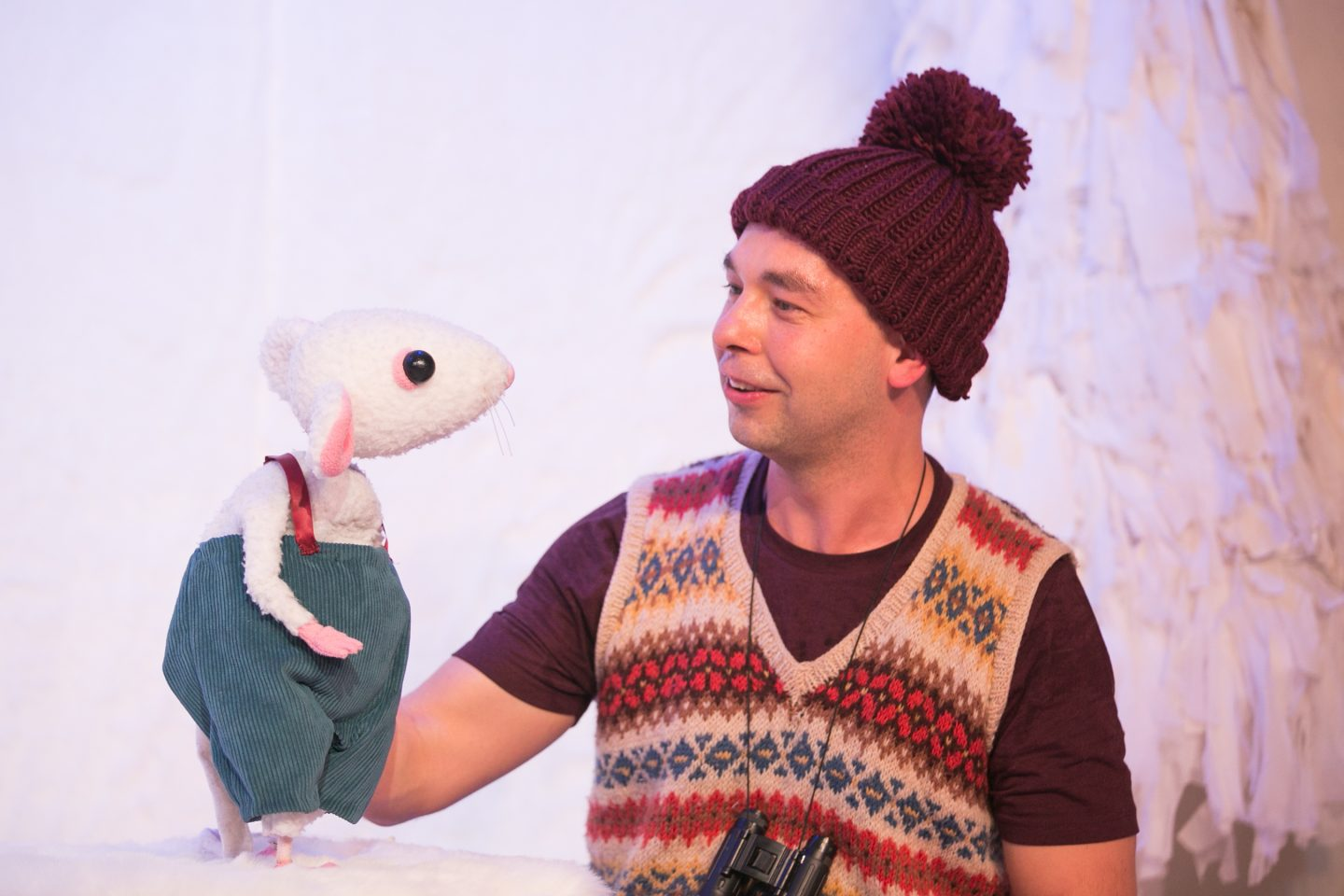 Snow Mouse and Performer on stage
