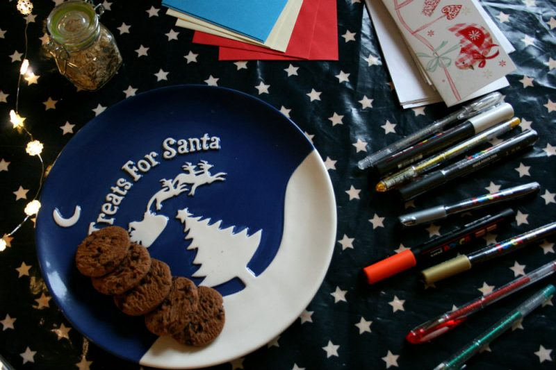 Uniball Pens on Table with Santa plate with cookies on