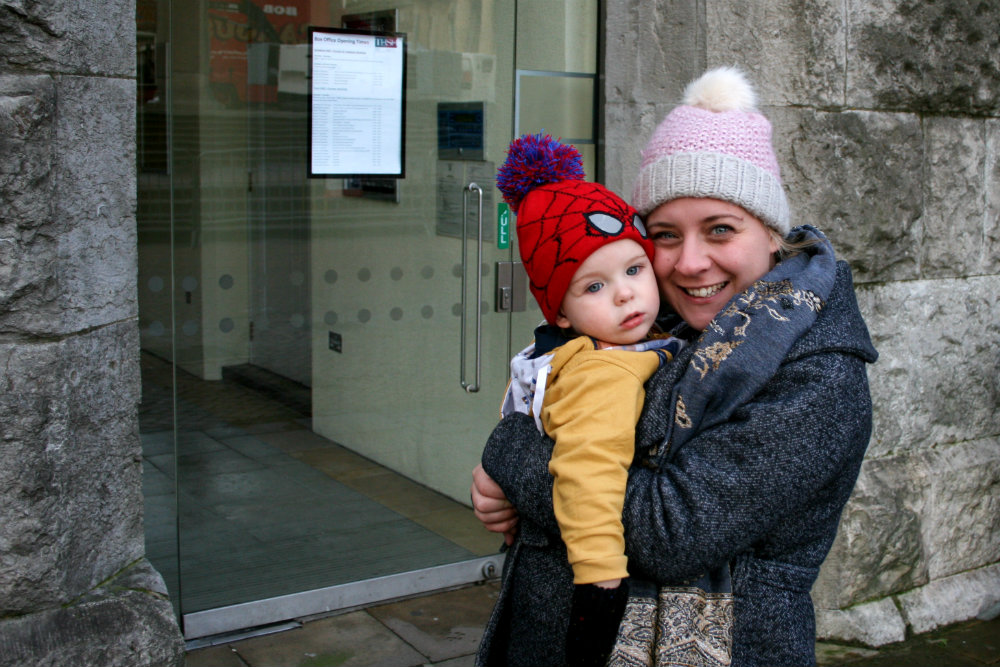 Pickle and I outside Town Hall Birmingham after Stick Man