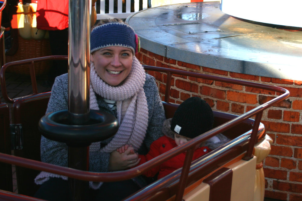 Pickle and I on the James Big Red Balloon ride