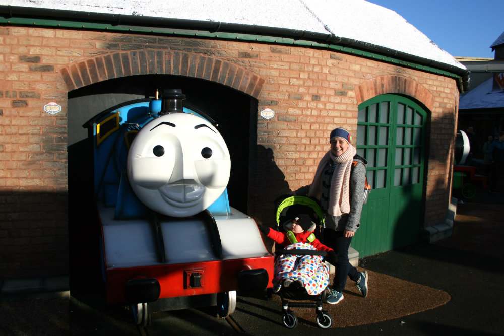 Pushchair by the train at Thomasland