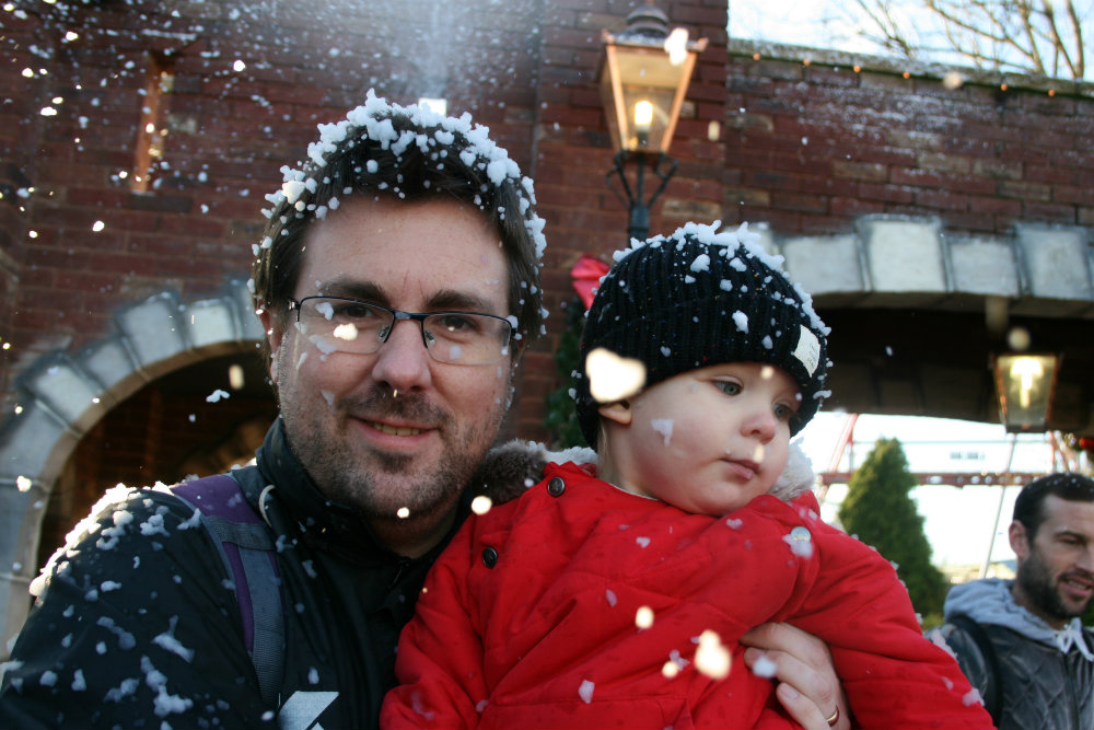 LPD and Pickle cuddling in the snow at Thomasland