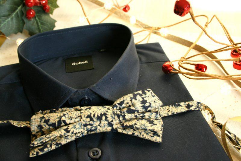 Navy Shirt with handmade Bowtie from Dobells