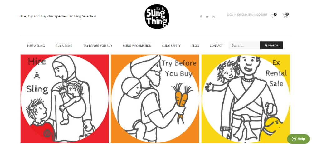 Screenshot of It's a Sling Thing website