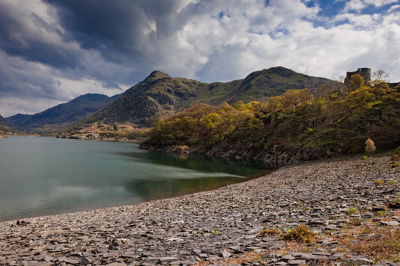 Photo of Snowdonia with a lake in the foreground and mountains in the background