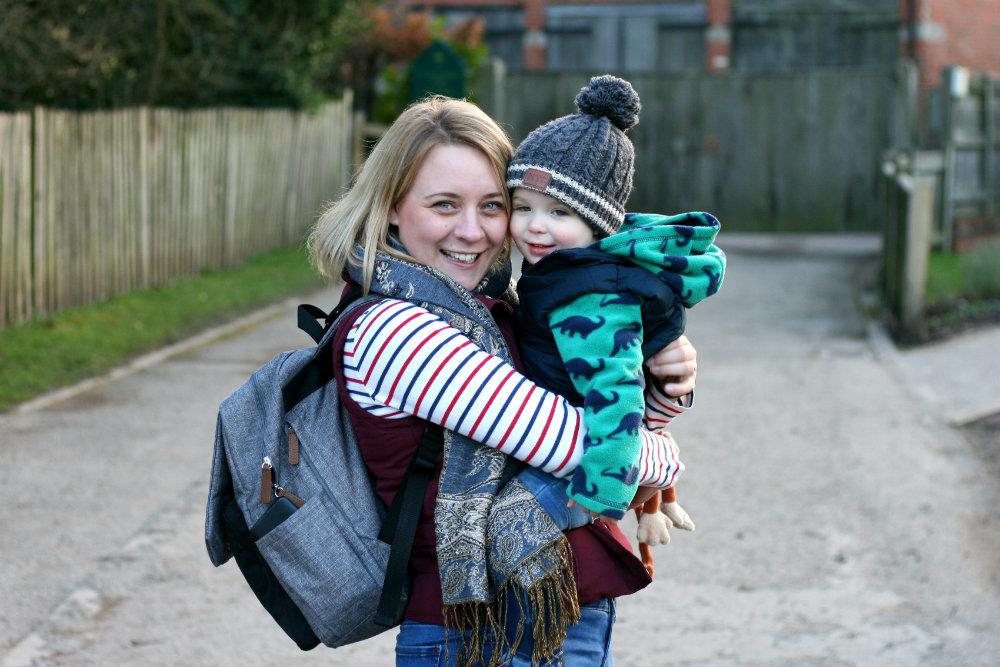 Mommy wearing Babymel George backpack at Baddlesley Clinton