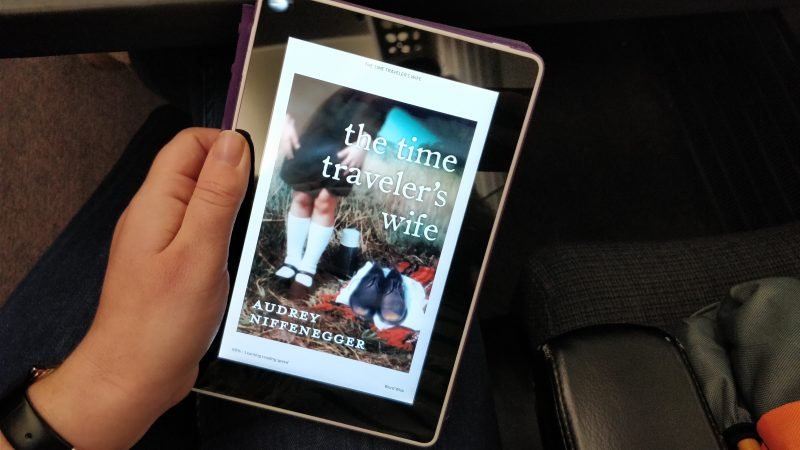 Reading my Kindle on the train - the Time Traveller's Wife book