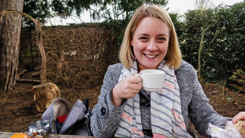 Enjoying a cup of tea outside on Mother's Day at Charlecote Park