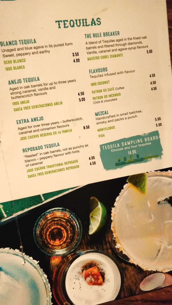 Tequila Menu at Chiquito