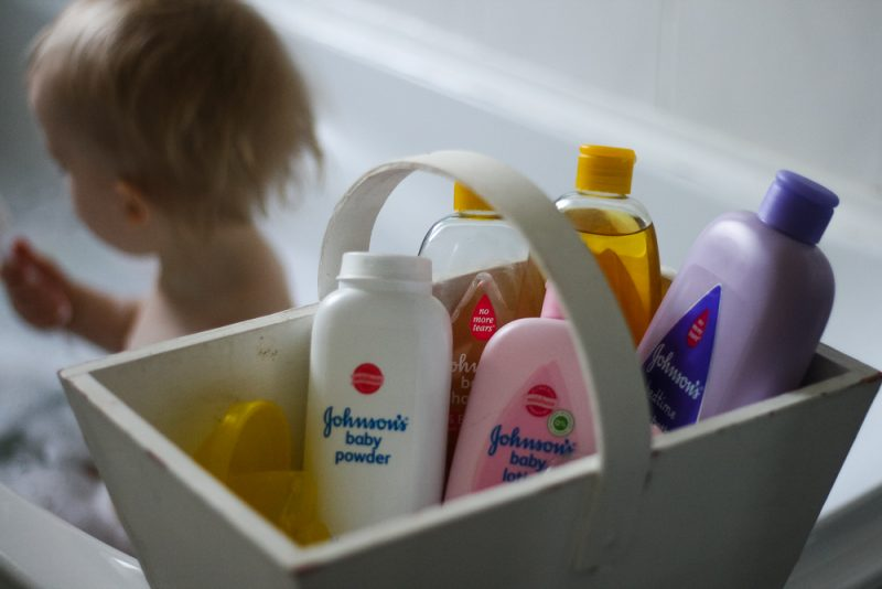 Pickle in the bath with his Johnson's Baby products