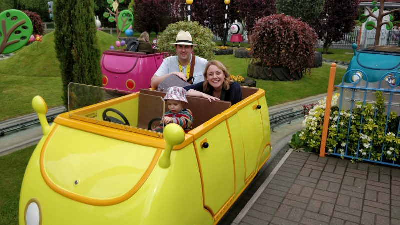 Photo of the three of us in Daddy Pig's car taken by a member of staff at Peppa Pig World