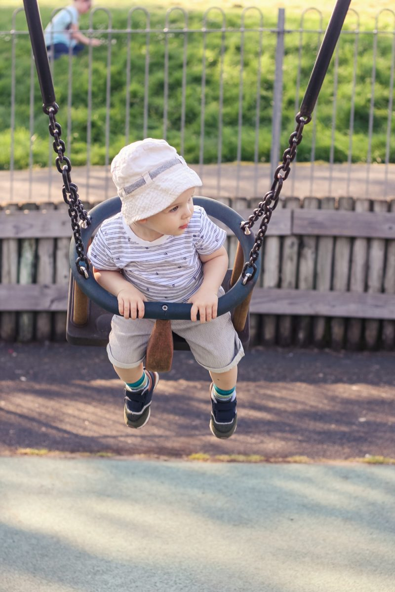 Playing in the swing on the park