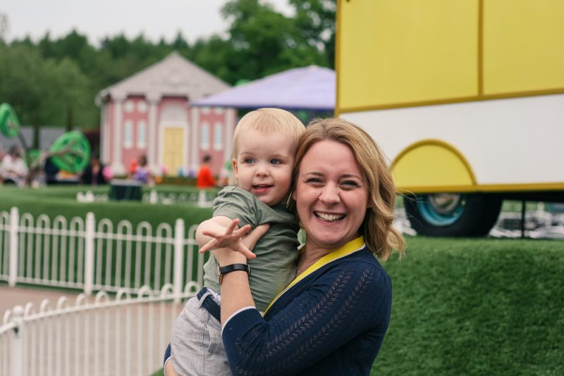 Mommy and Pickle enjoying a cuddle at Peppa Pig World - big smiles for the camera