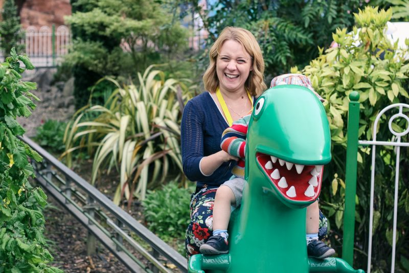 Mommy enjoying the Dinosaur Ride