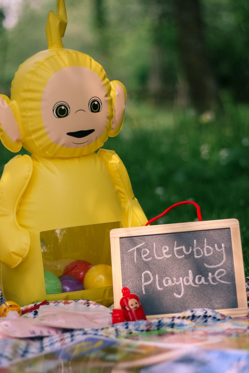 Teletubby Playdate with a wobbly Laa Laa and chalkboard