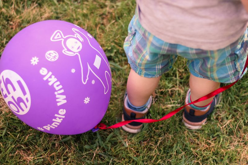 Pickle next to his Tinky Winky purple balloon on the grass