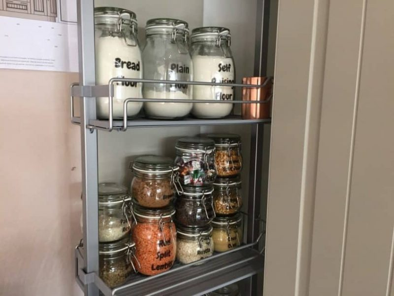 Donna's Larder with labelled jars from Ikea
