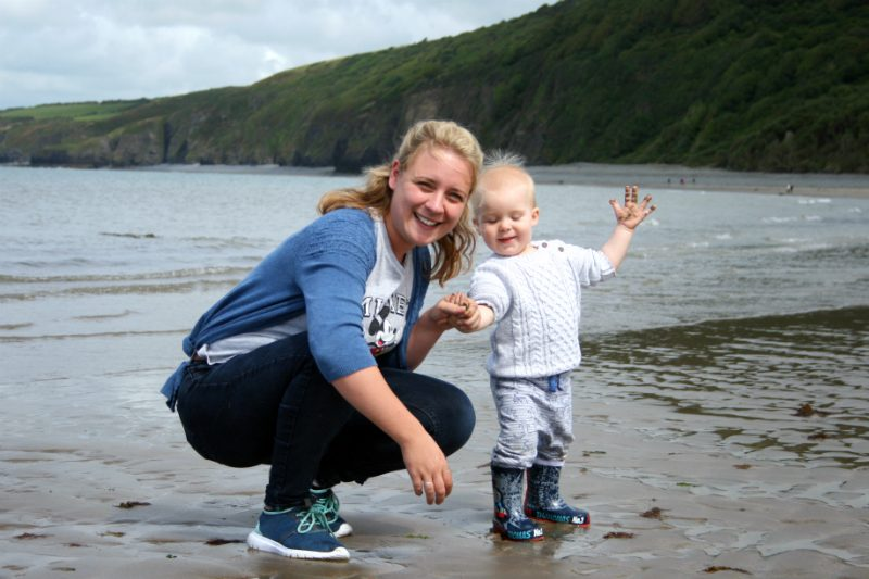Mommy and Pickle at the beach in Wales Cei Bach