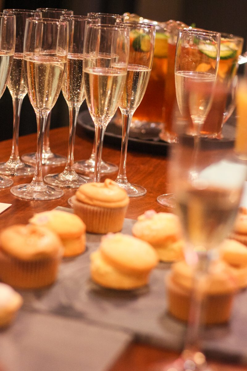 A treat of Prosecco and pastries laid on by Bill's Restaurant at the Bullring Birmingham