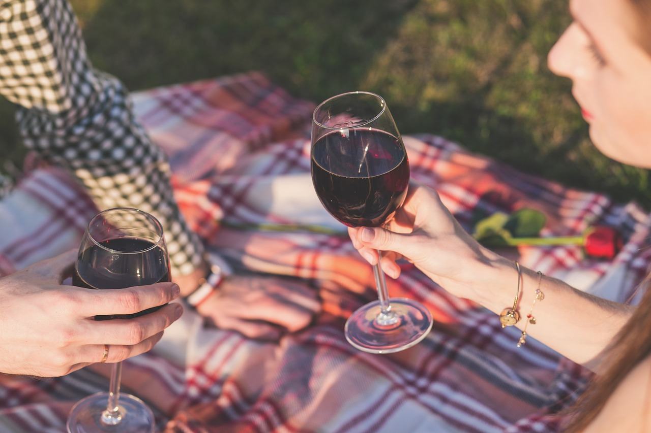 picnic date with wine for an outdoor cinema outdoors date night idea
