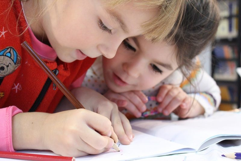 Kids learning at school stock image