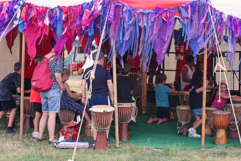 Drumming workshop at Cornbury Festival 2018 Kids Area