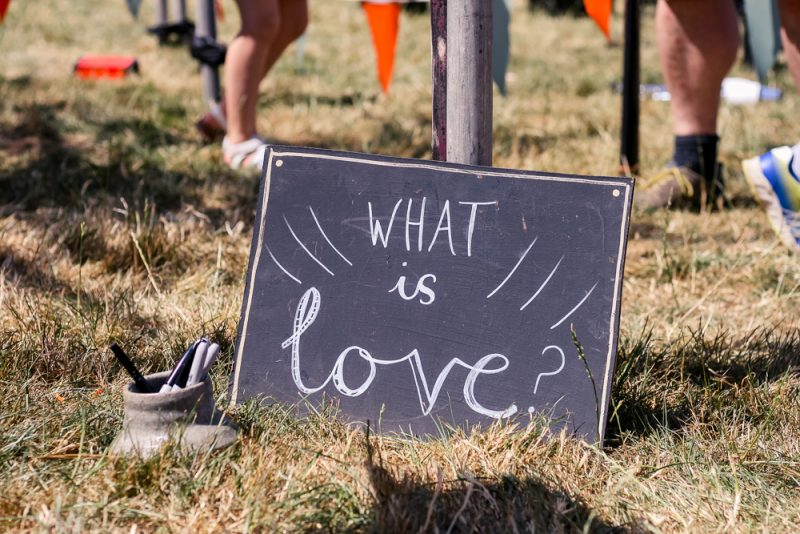 The What is Love display at Cornbury Festival